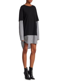 T by Alexander Wang Cotton Poplin Double Layer Dress