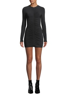 T by Alexander Wang Crepe Jersey Long-Sleeve Dress with Ruching