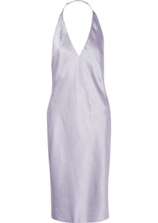T by Alexander Wang Crinkled-satin Halterneck Dress