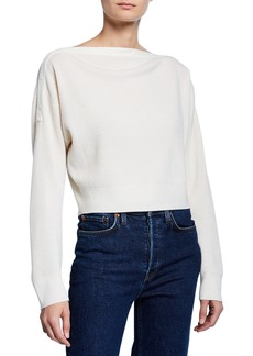 T by Alexander Wang Cropped Boat-Neck Wool Sweater w/ Snaps