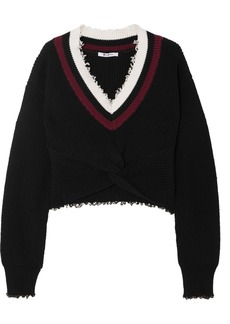 T by Alexander Wang Cropped Frayed Cotton-blend Sweater