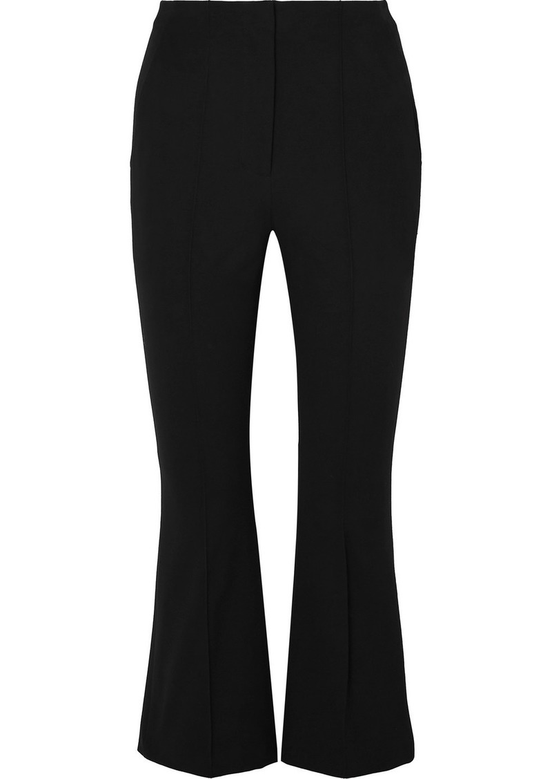T by Alexander Wang Cropped Intarsia Cotton-blend Twill Flared Pants
