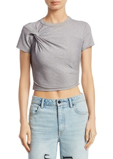 T by Alexander Wang Cropped Jersey Twist Tee