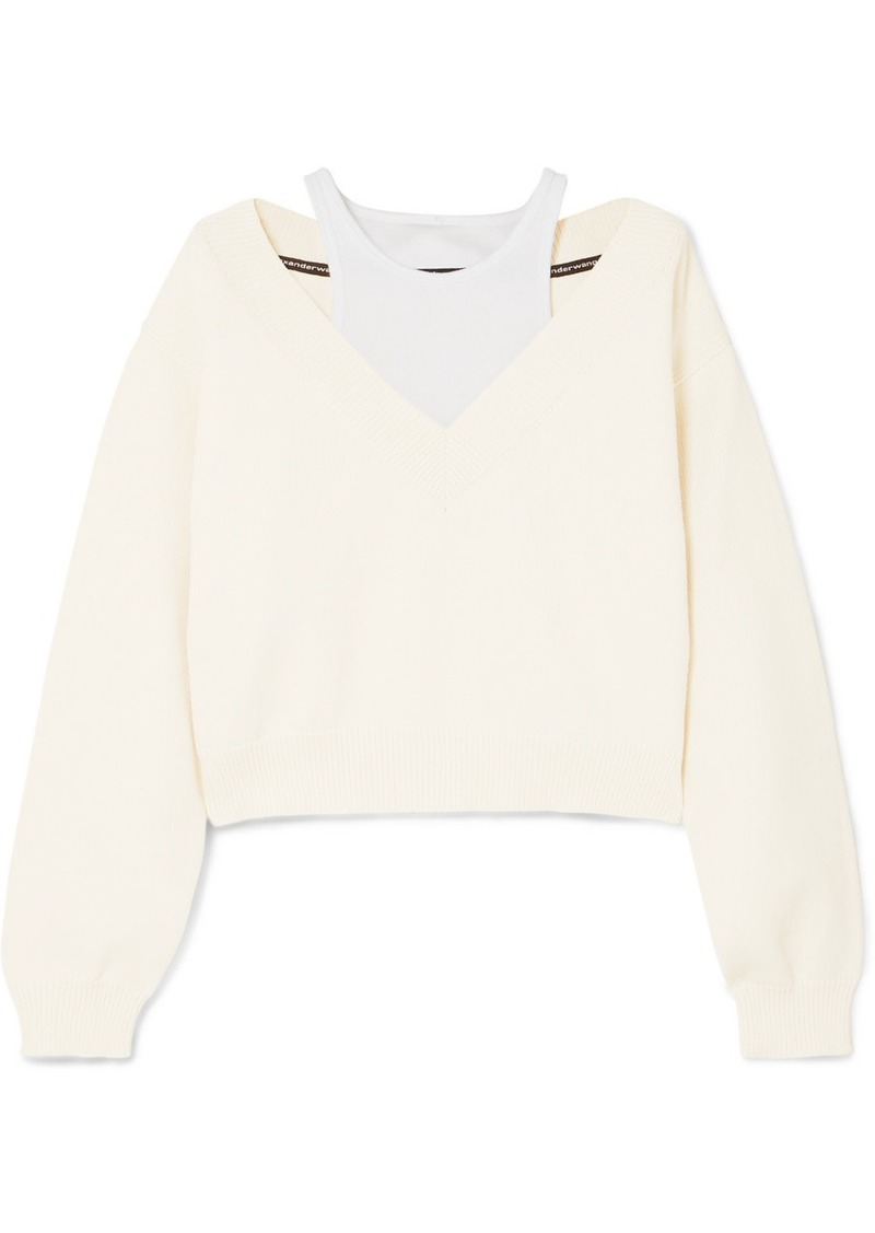 T by Alexander Wang Cropped Layered Knitted And Stretch-cotton Jersey Sweater