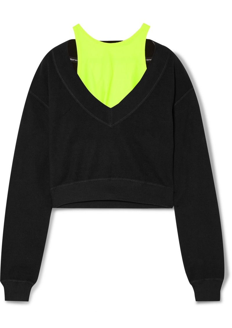 T by Alexander Wang Cropped Layered Stretch-jersey Sweatshirt