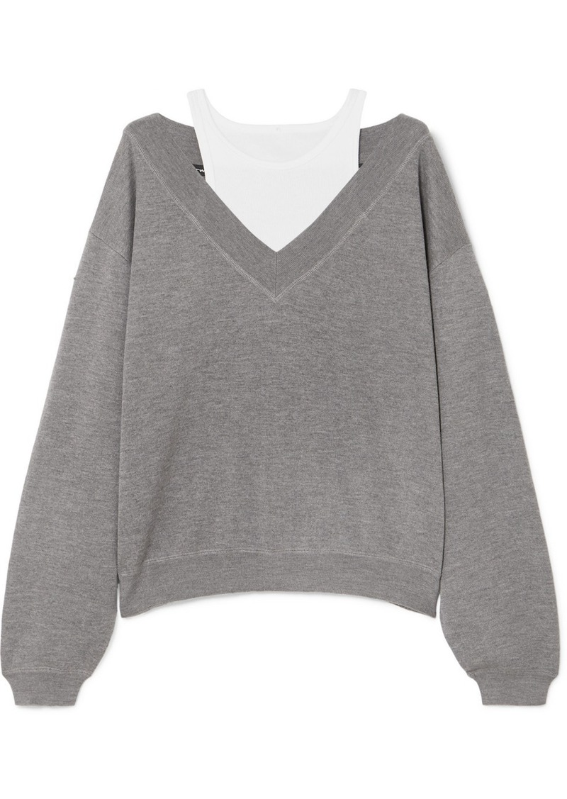 T by Alexander Wang Cropped Layered Wool And Stretch-cotton Jersey Sweater