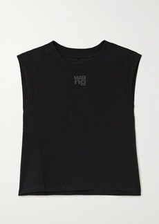 T by Alexander Wang Cropped Printed Cotton-jersey Tank