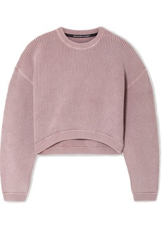 T by Alexander Wang Cropped Ribbed Cotton-blend Sweater
