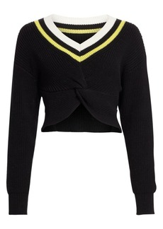 T by Alexander Wang Cropped Ribbed-Knit Varsity Sweater