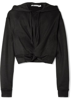 T by Alexander Wang Cropped twist-front French terry hooded top