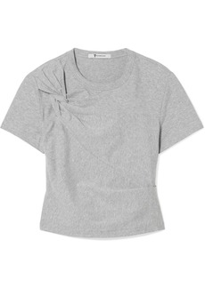 T by Alexander Wang Cropped Twist-front Stretch-cotton Jersey T-shirt