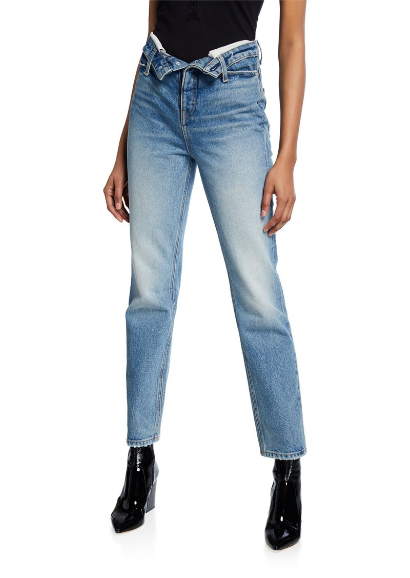 T by Alexander Wang Cult High-Rise Straight Jeans w/ Flipped Waistband