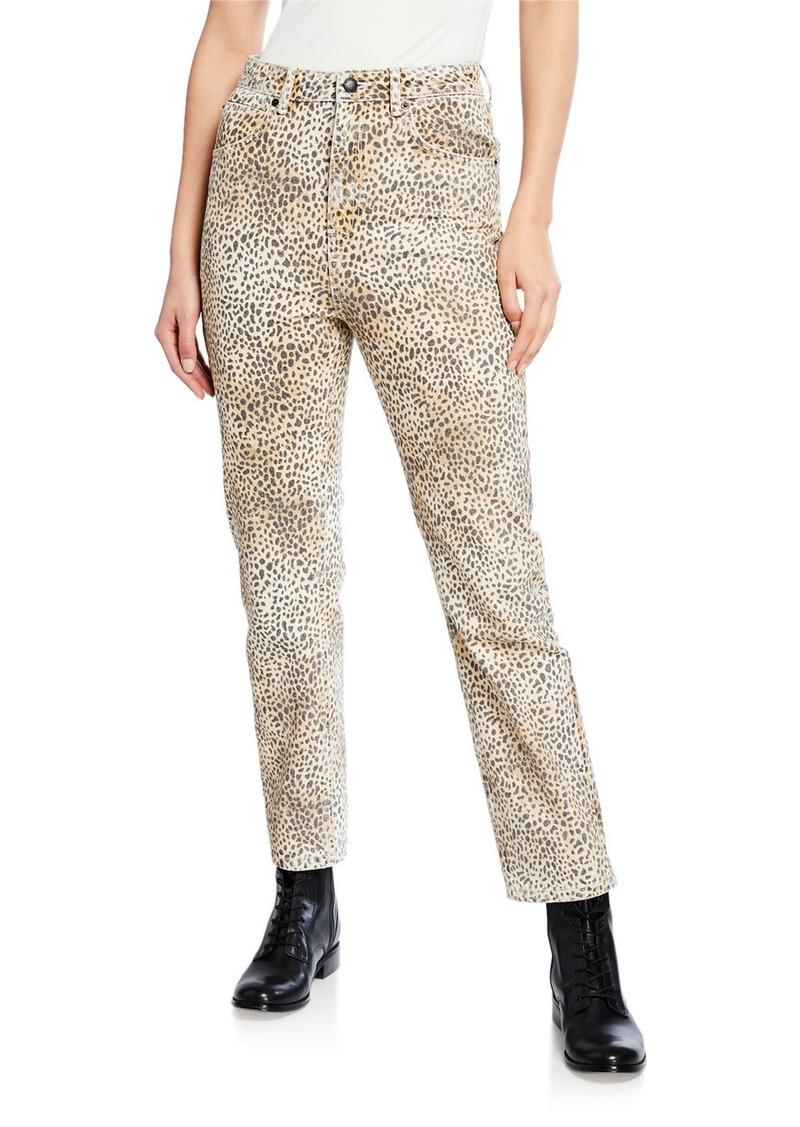T by Alexander Wang Cult Rise Micro Cheetah-Print Straight-Leg Jeans