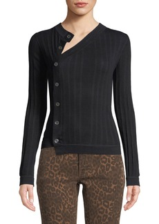 T by Alexander Wang Deconstructed Mother of Pearl Button-Front Sweater