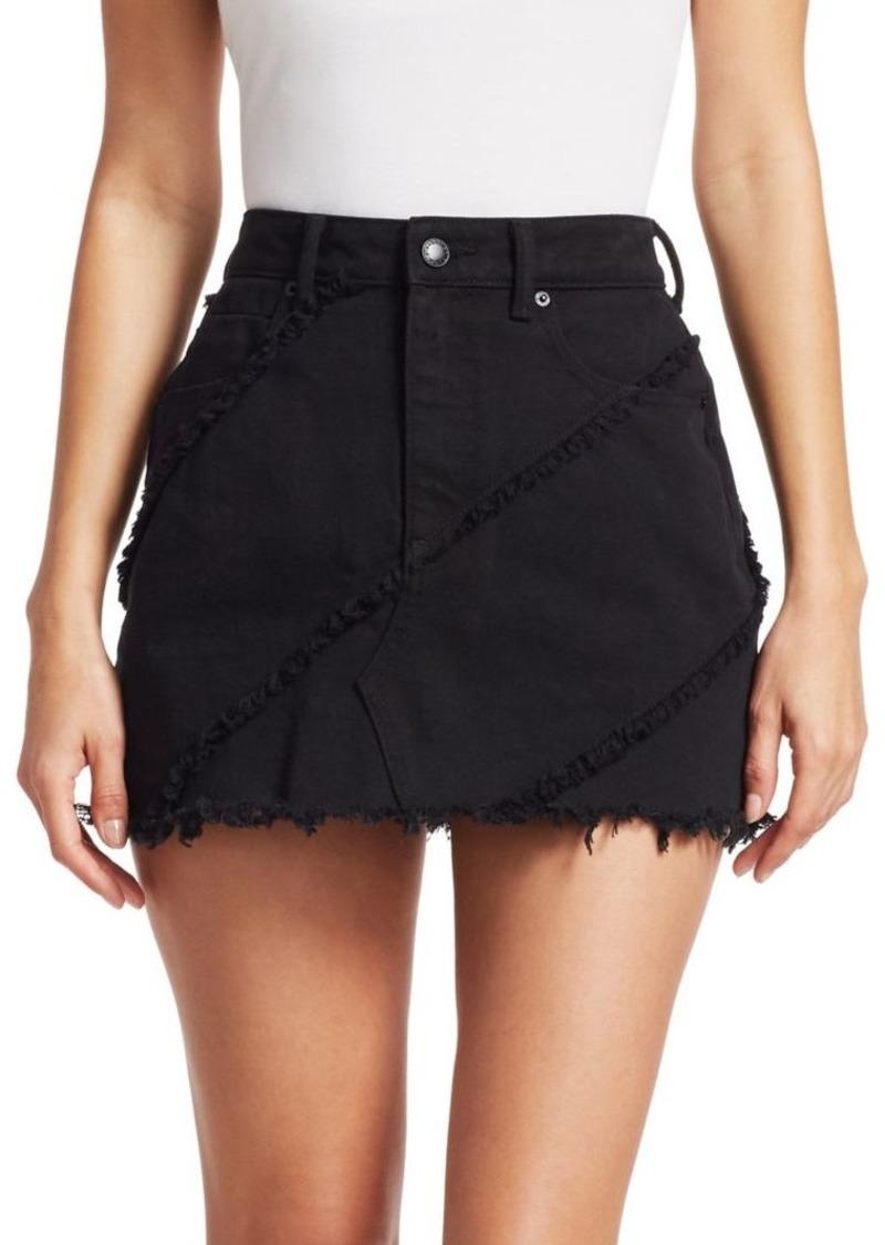 Diagonal Seamed Denim Skirt
