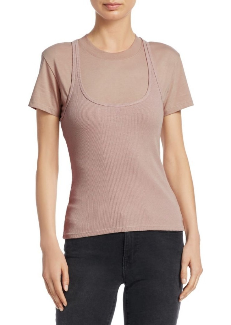 Double Layer Ribbed Tank Shirt