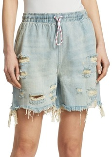 Alexander Wang Destroyed Drawstring Denim Shorts