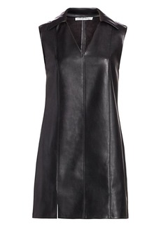 T by Alexander Wang Faux Leather Sleeveless Dress