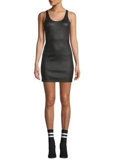 T by Alexander Wang Fitted Leather Scoop-Neck Mini Dress