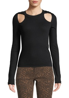 T by Alexander Wang Fitted Twisted-Shoulder Cutout Sweater