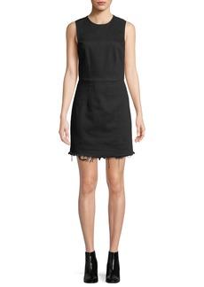 T by Alexander Wang Frayed Twill Sleeveless Mini Dress