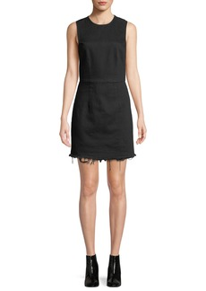 T by Alexander Wang Frayed Twill Sleeveless Mini Dress