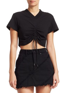T by Alexander Wang Front Tie Cropped Tee