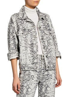 T by Alexander Wang Game Python-Print Denim Trucker Jacket