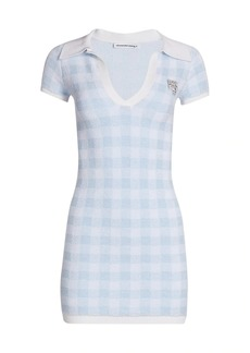T by Alexander Wang Gingham Crystal Brooch Polo Mini Dress