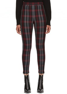 T by Alexander Wang Grey & Red Plaid Fitted Zip Leggings