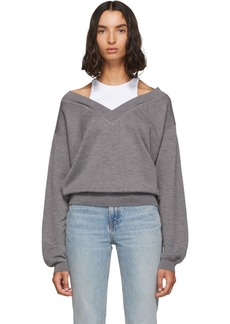 T by Alexander Wang Grey & White Cropped Bi-Layer V-Neck Sweater