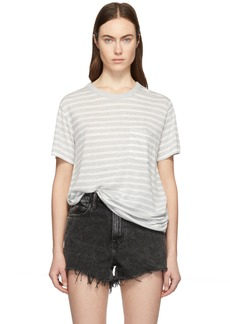 T by Alexander Wang Grey & White Slub Jersey Pocket T-Shirt