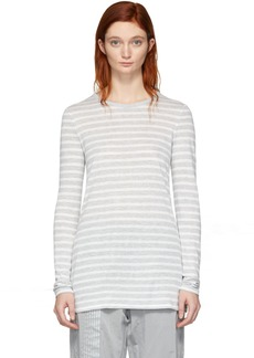 T by Alexander Wang Grey & White Striped Slub Long Sleeve T-Shirt