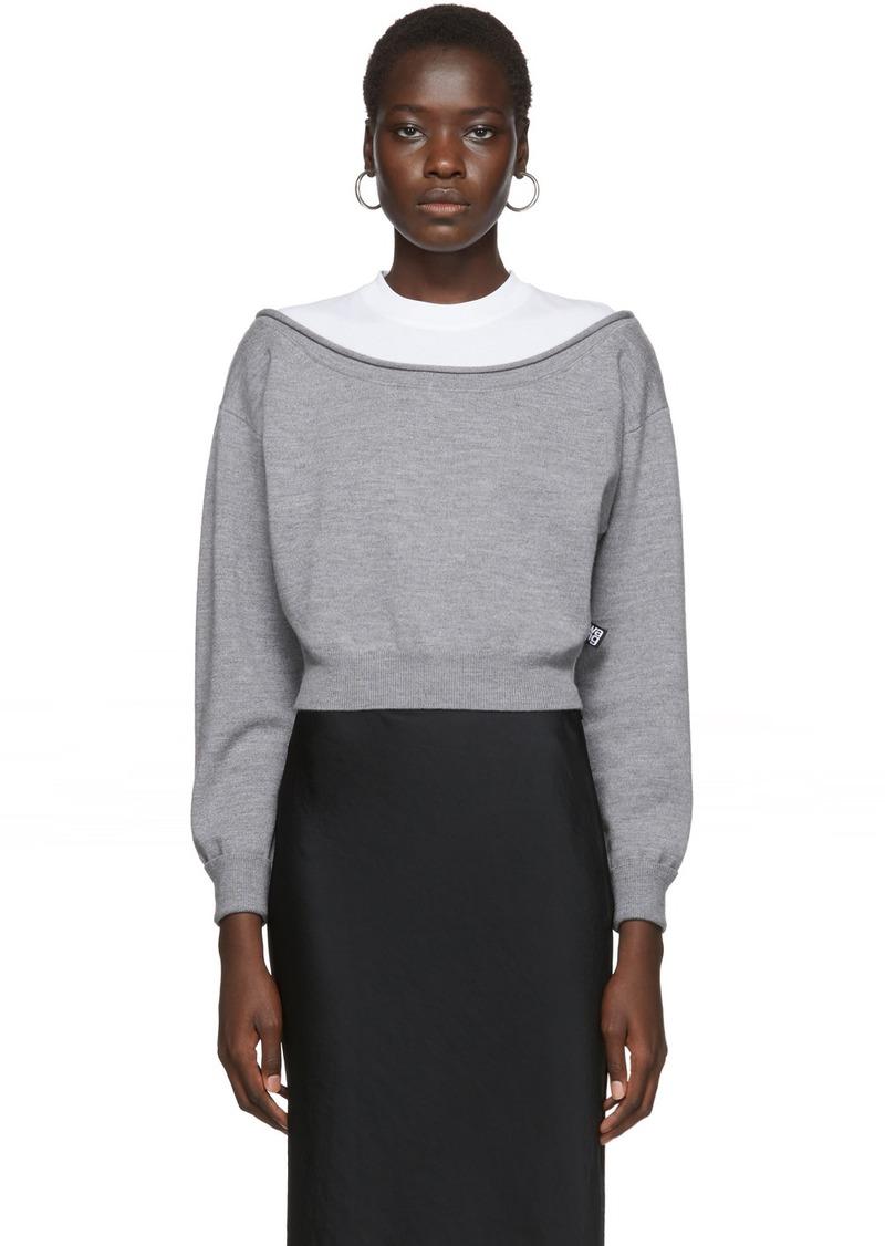 T by Alexander Wang Grey Cropped Bi-Layer Sweater
