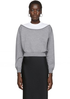 T by Alexander Wang Grey Cropped Bi-Layer Sweater