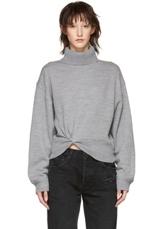 T by Alexander Wang Grey Double Layered Twist Turtleneck