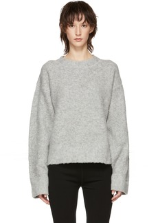 T by Alexander Wang Grey Exaggerated Pilling Pullover Sweater
