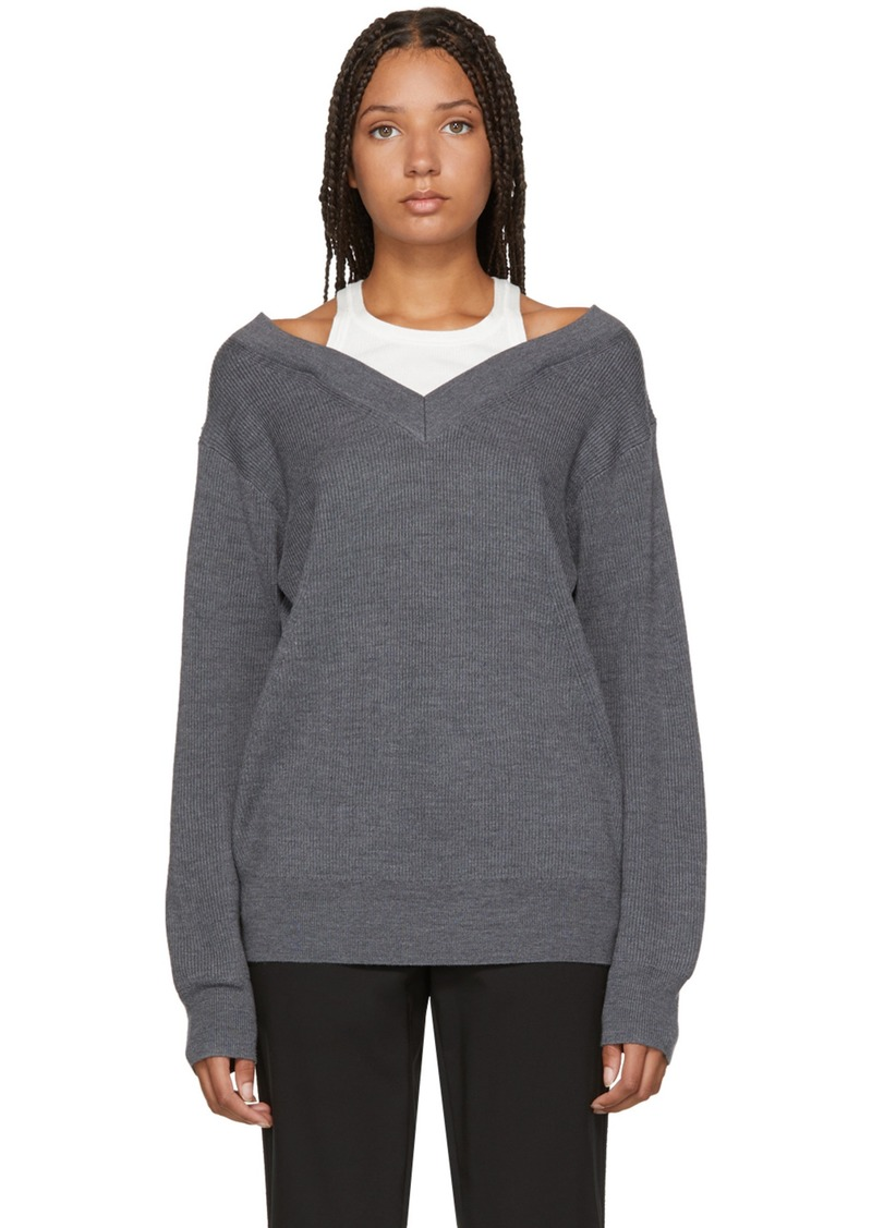 6e5f39b5c T by Alexander Wang Grey Inner Tank Off-the-Shoulder Sweater