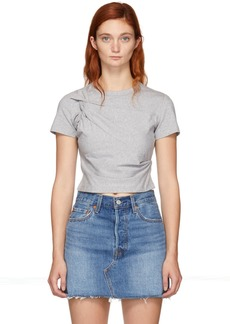 T by Alexander Wang Grey Twist Top T-Shirt