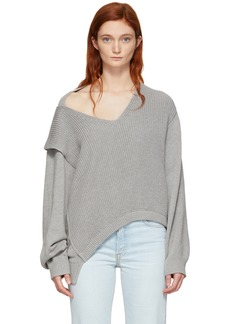 T by Alexander Wang Grey Utility V-Neck Sweater