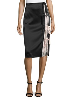T by Alexander Wang Heavy Draped Satin Skirt with Stripe Combo