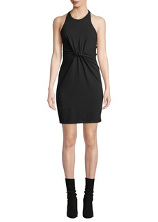 T by Alexander Wang High-Neck Twist-Front Jersey Halter Dress