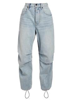 T by Alexander Wang High-Rise Mixed-Media Nylon Denim Pants