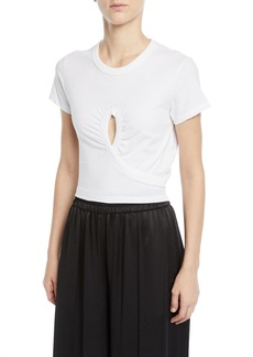 T by Alexander Wang High Twist Jersey Cropped Tee with Keyhole