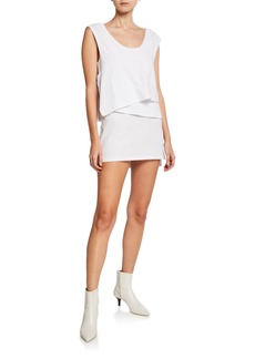 T by Alexander Wang High Twist Scoop-Neck Layered Muscle Mini Dress