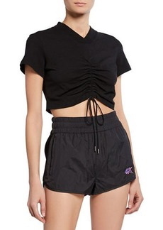 T by Alexander Wang High Twist V-Neck Short-Sleeve Ruched Jersey Crop Tee w/ Ties
