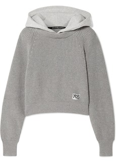 T by Alexander Wang Hooded Jersey And Ribbed Cotton-blend Sweater