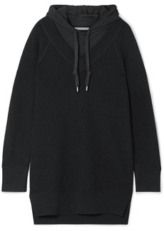 T by Alexander Wang Hooded Layered Wool And Cotton-blend Jersey Mini Dress