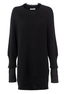 T by Alexander Wang Hybrid Meets Varsity Sweater Poplin Dress