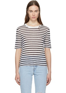 T by Alexander Wang Ivory & Navy Striped Cropped T-Shirt